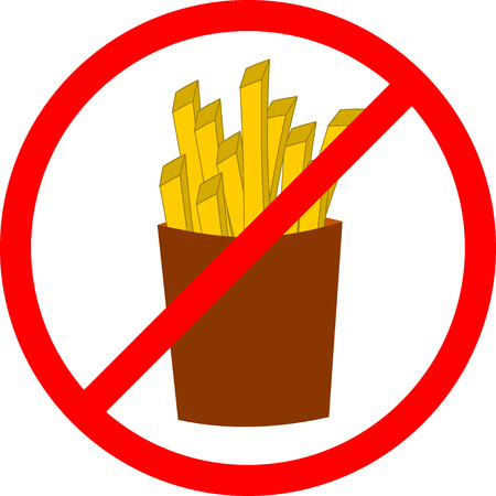 Fast food danger label. Vector illustration french fries, red prohibition sign, ban, promotion of a healthy diet