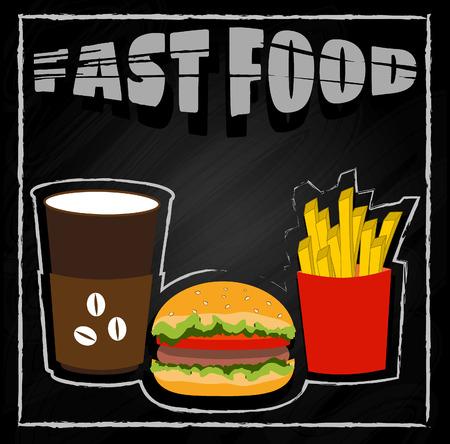 hamburger and fries: Coffee, hamburger, fries on black background