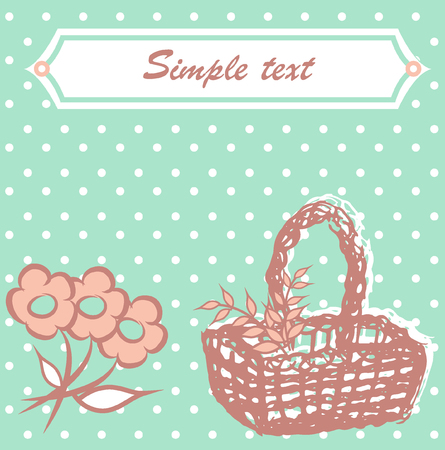 Blue postcard with basket Illustration