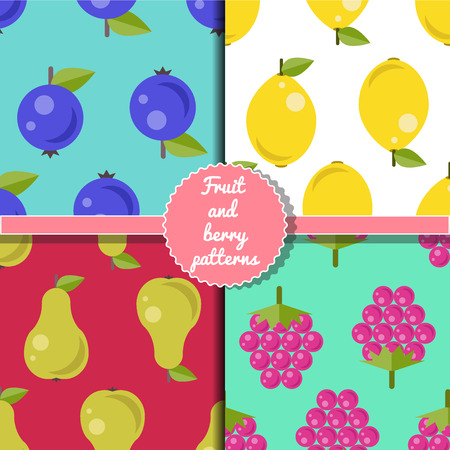 Fruit and berry seamless patterns set, summer patterns set, bilberry, lemon, raspberry, pear patterns