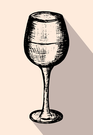 Vector illustration, hand drawn sketch of wineglass