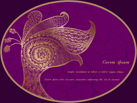 feathering: Postcard with abstract gold peacock on purple background