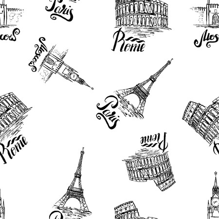 colosseo: Vector illustration, seamless pattern with Moscow, Paris, Rome labels, hand drawn Kremlin, Eiffel Tower, Coliseum, lettering Moscow, Paris, Rome