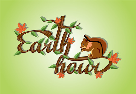 earth nut: Earth hour logo Illustration