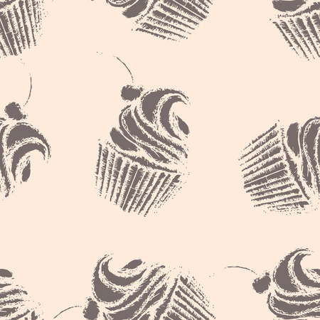 Hand drawn cupcakes, seamless pattern, brown cupcakes with whipped cream and cherry on beige bacground