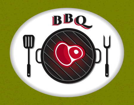 ricreazione: Flat bbq icon, recreation, bbq sign, meet, barbecue party