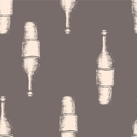 viticulture: Vector illustration, hand drawn sketch of wine bottles, seamless pattern on gray background Illustration