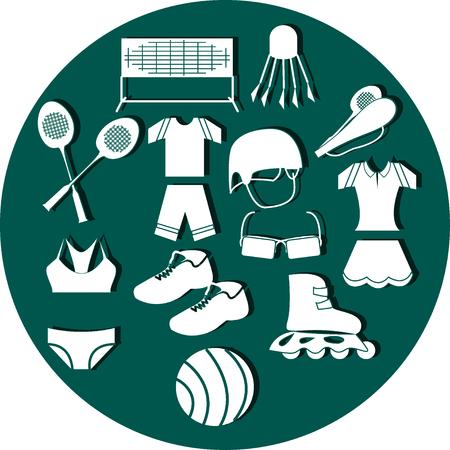 rulos: Conjunto de deporte de verano en el círculo de aguamarina Vectores