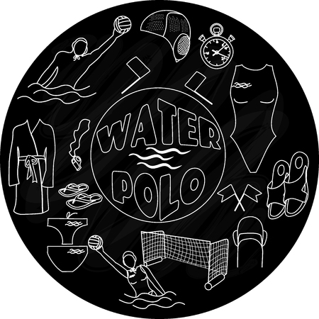 Water polo logo on blackboard