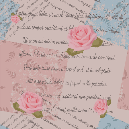 Textile design, roses, faded text, patchwork with foliage print on beige background