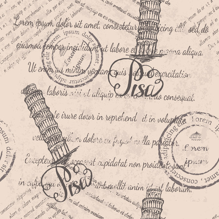 Vector illustration, seamless pattern with hand drawn Leaning tower of Pisa, lettering Pisa and faded text