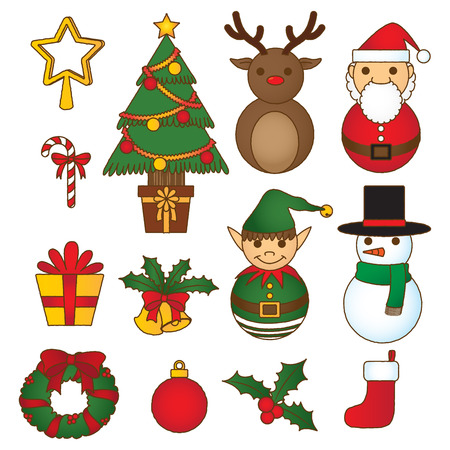 collection series: christmas decoration set, doodle collection, merry christmas series
