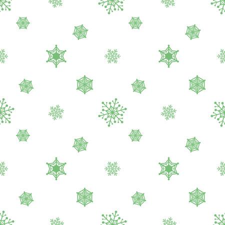 Snowflake Pastel Green Colour White Background Christmas Pattern Wallpaper Stock Vector