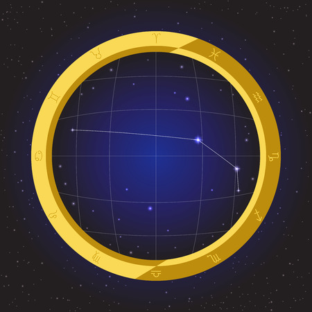fisheye: aries star horoscope zodiac in fish eye telescope golden ring frame with cosmos background