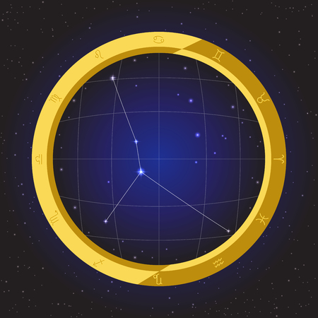 fisheye: cancer star horoscope zodiac in fish eye telescope golden ring frame with cosmos background
