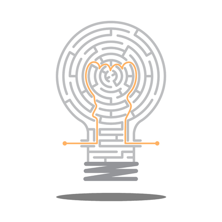 create idea: the maze in light bulb, maze idea game, labyrinth, entry and exit, vector illustration, great idea, create way, creativity business, creative idea in the maze Illustration