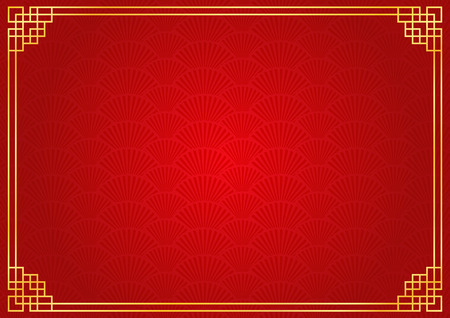 chinese fan: chinese new year background with golden border, abstract oriental wallpaper with decoration frame, red chinese fan inspiration