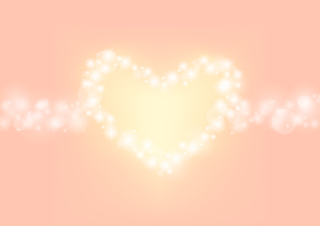 twinkle: romantic sparkle abstract background, heart glitter sparking with orange pink background, wedding twinkle background, vector illustration Illustration
