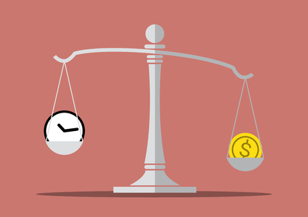 time and money on the balance scale , balance life concept, concept of make money more important than your free time, vector illustration Illustration