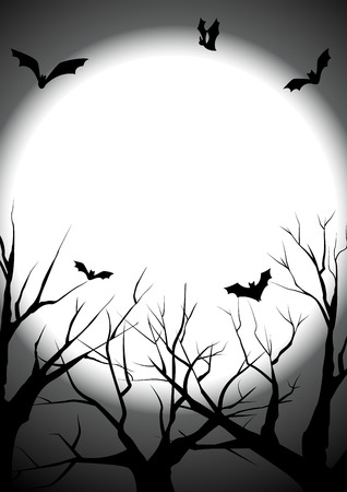 spider web: happy halloween with died tree silhouette background, black halloween party greeting, vector illustration