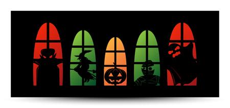 Happy Halloween window silhouette banner