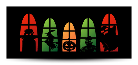 Happy Halloween window silhouette banner