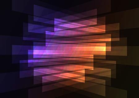 多色の抽象的なスポット ライトの背景、正方形層逆ライン、技術の幾何学的な背景、ベクトル イラスト