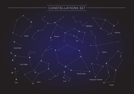 Constellation in cosmos background, group of star in galaxy, astronomy set, vector illustration Vettoriali