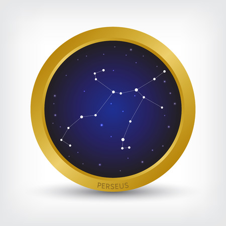 Perseus constellation in golden circle, group of star in galaxy, vector illustration