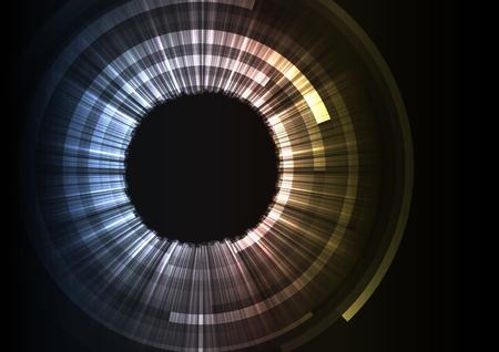 abstract circle eye with sheet overlap background, grey digital layer line, technology background, vector illustration Illusztráció