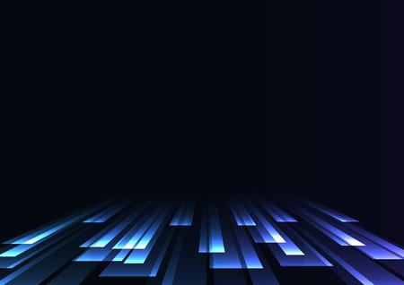 blue overlap stripe rush in dark background, bar layer backdrop, simple technology template, vector illustration Illustration