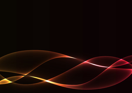 red flame curve layer overlap in dark background, wave transparent backdrop, simple technology template, vector illustration