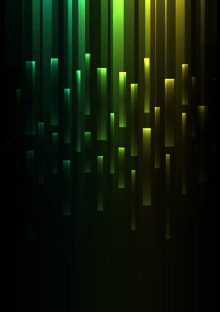 green overlap pixel speed in dark background, geometric layer motion backdrop, simple technology template, vector illustration Ilustração Vetorial