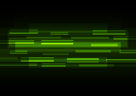 green overlap pixel speed in dark background, geometric layer motion backdrop, simple technology template, vector illustration
