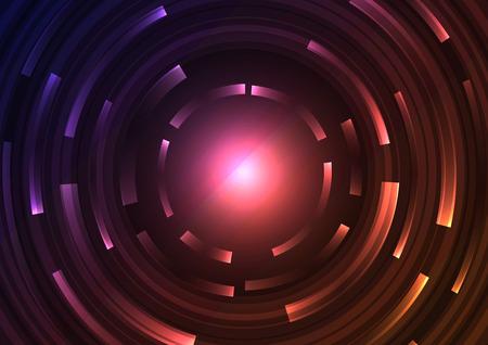 fond de cercle abstrait orange violet, ligne de couche de chevauchement numérique, modèle de conception de technologie simple, illustration vectorielle