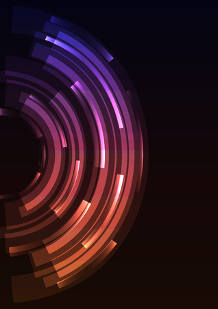 purple orange abstract circle background, digital overlap layer line, simple technology design template, vector illustration