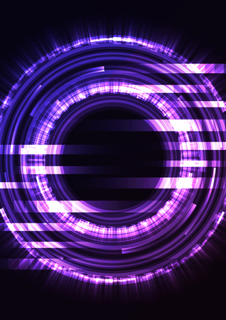 purple abstract circle background, digital overlap layer line, simple technology design template, vector illustration