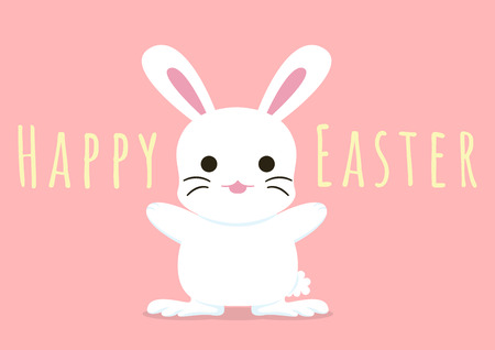 happy easter greeting card with hooray bunny, vector illustration