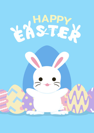 happy easter greeting card with bunny and egg template, vector illustration Иллюстрация