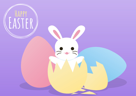 happy easter greeting card with bunny pop from egg template, vector illustration
