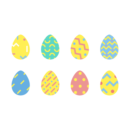set of easter eggs, happy easter minimal style, vector illustration Иллюстрация