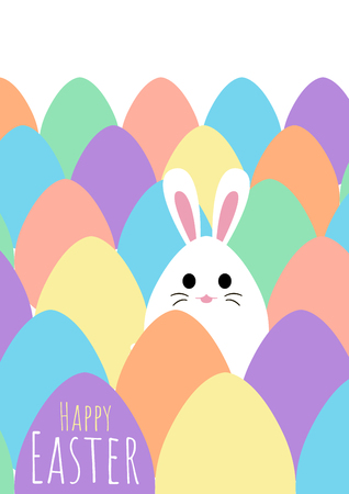 happy easter greeting card with bunny and egg hunt template, vector illustration