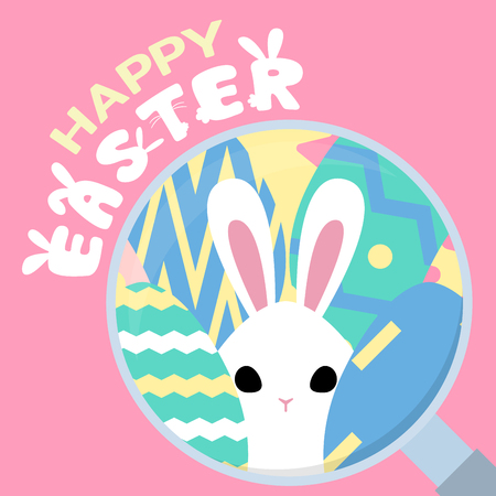 happy easter greeting card, egg hunt template, rabbit behind egg magnifying glass concept, vector illustration