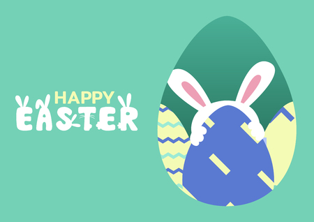 happy easter greeting card with bunny behind egg, vector illustration