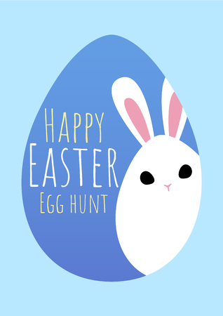 happy easter greeting card with bunny hiding , vector illustration Иллюстрация