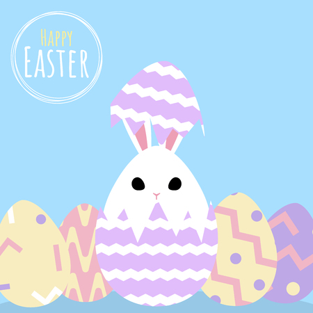 happy easter greeting card with bunny in egg shell template, vector illustration