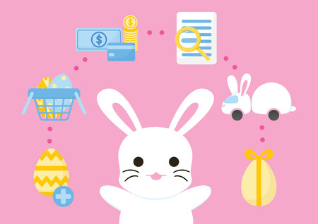 online shopping easter concept, purchase process set, e-commerce payment infographic, vector illustration Иллюстрация