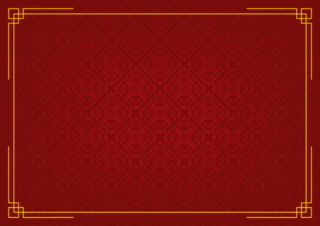 chinese new year background, abstract oriental wallpaper, red rhombus and octagon inspiration, vector illustration Иллюстрация