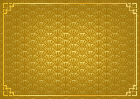 chinese new year background, abstract oriental wallpaper, golden fan inspiration, vector illustration Иллюстрация