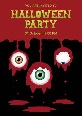Halloween horror eyeball blood background, vector illustration